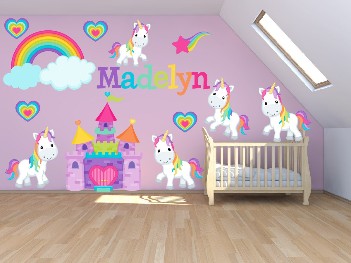 Wall decals for kids bedroom pony wall decal princess - Childrens bedroom stickers for walls ...