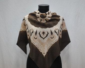 Vintage SILK scarf retro pattern ....