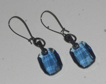 Faceted Rectangle Swarovski Crystals on Gunmetal Earwires