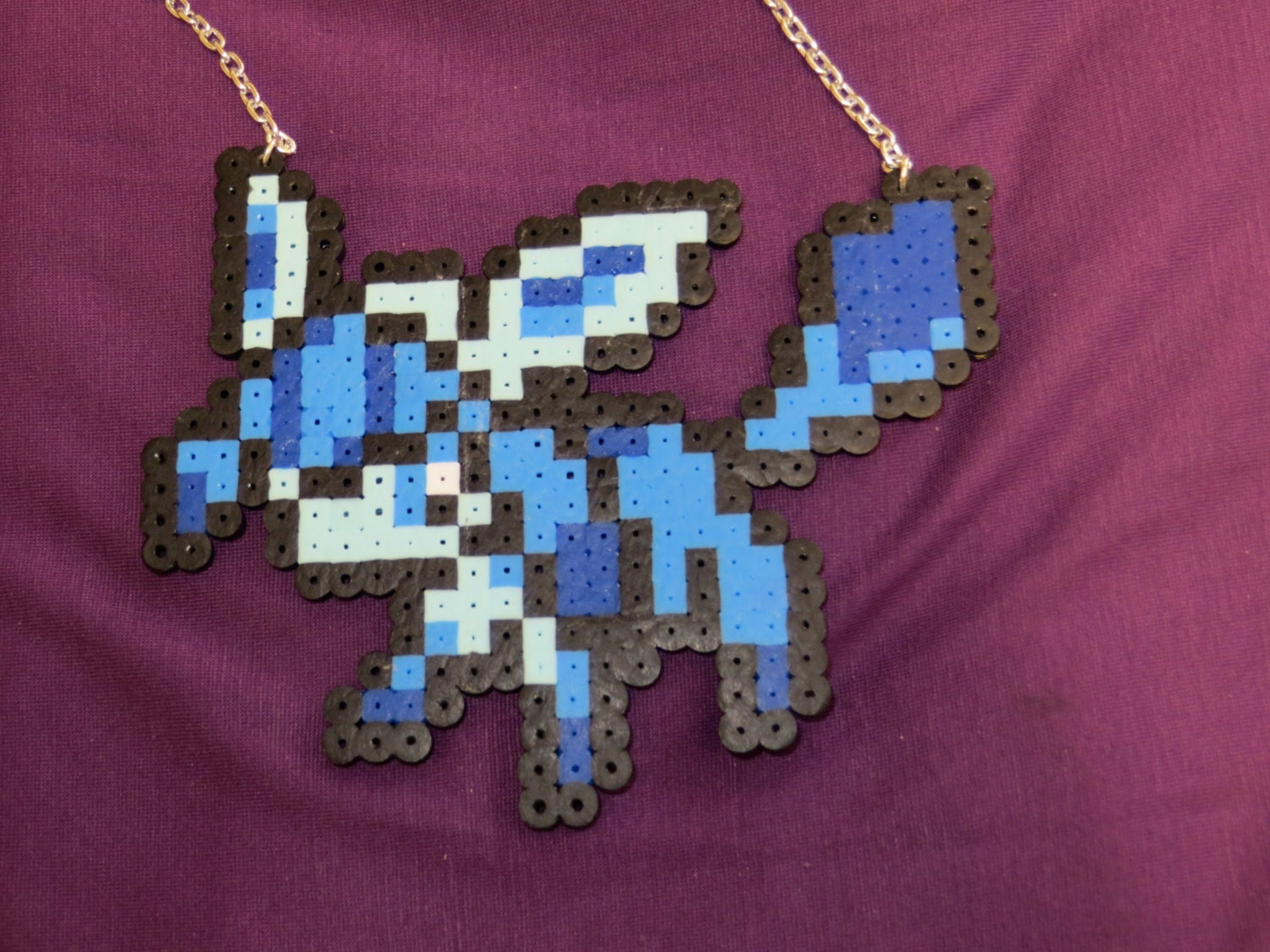 glaceon perler bead necklace