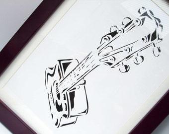 Paper cut Art - Guitar Picture - Artwork - Musical Instrument - Music Art - Illustration - Hand cut art - Gift - silhouette