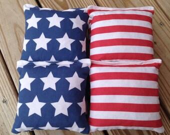 Patriotic Stars & Stripes Corn Hole Bags