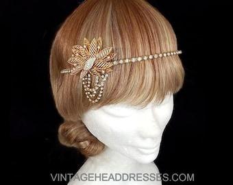 Gold Great Gatsby Headpiece - Gold Gatsby Headband - Gold Vintage 1920's Art Deco Flapper Headpiece - Wedding Headpiece - Bridal Headpiece