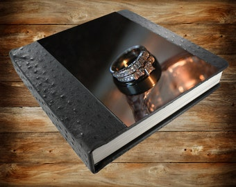 Custom Wedding Albums with OstrichLeather -  Genuine Leather Album 10 X 10
