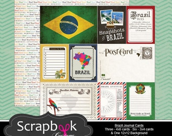 Brazil Journal Cards. Digital Scrapbooking. Project Life. Instant Download.