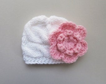 Baby Girl  Hat ,Knit  Baby Hat Photo Prop , Knit Baby Hat , Crochet Flower Hat ,Photo Prop