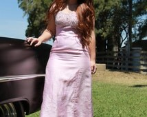 VIntage 1960s Bridesmaid Dress Pink Prom Dress Long Formal Ball Gown S