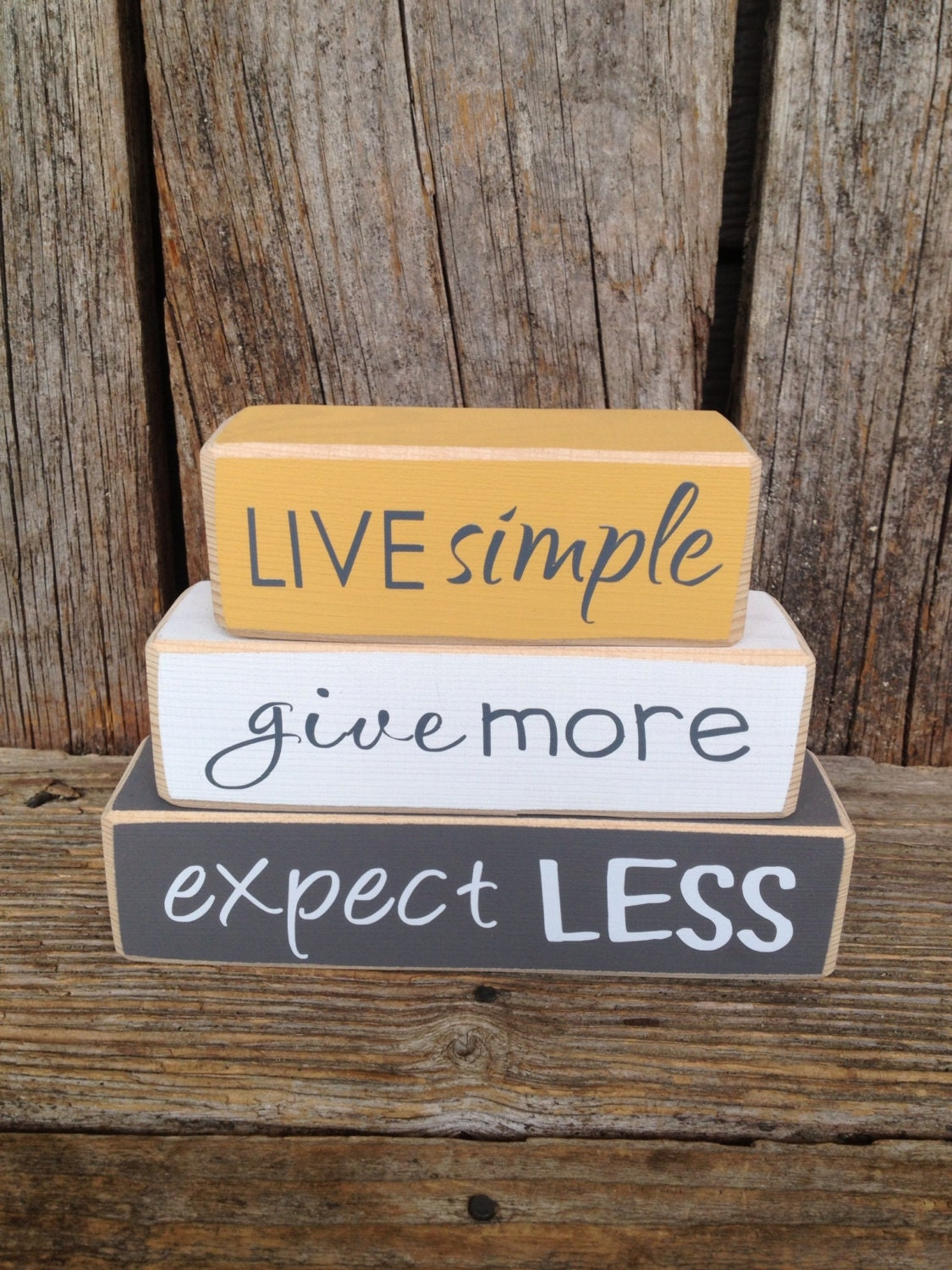 Live Simple Give More Expect Less Mini Stacker Live Simple