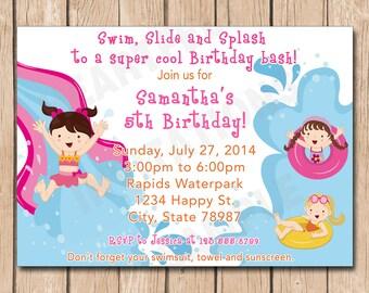 Waterpark Girl Birthday Party Invitation | Water park, Water slide, Pool, Splash Fun - 1.00 each printed or 10.00 DIY file
