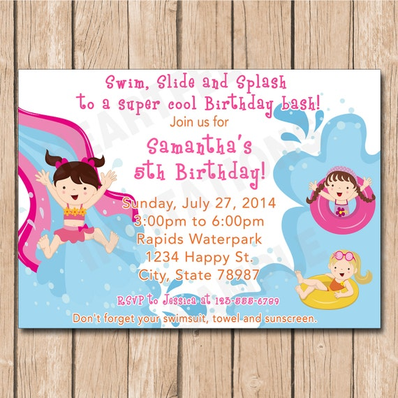 Waterpark Girl Birthday Party Invitation Water Park Water