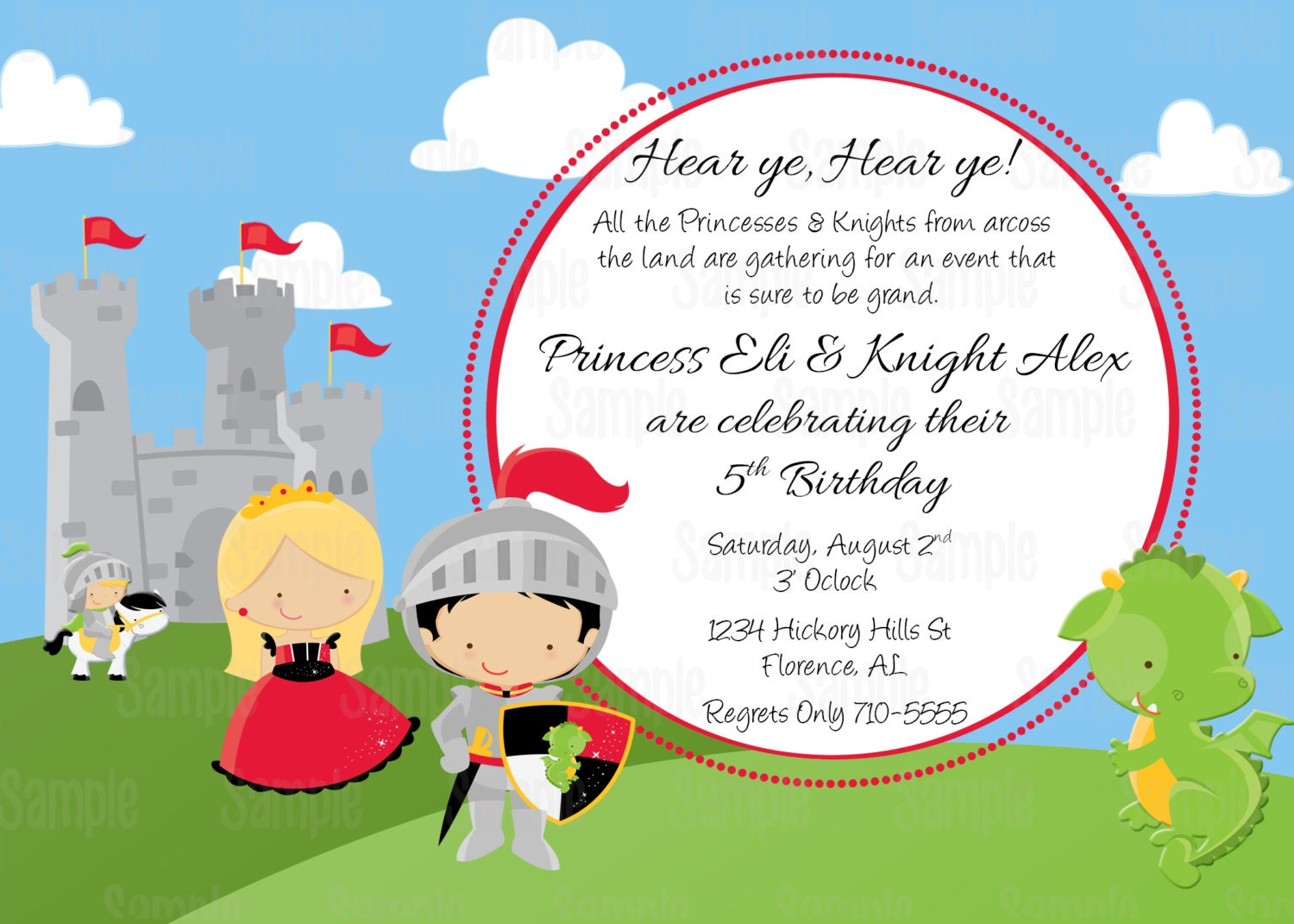 printable princess and knight birthday party invitation plus