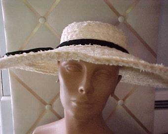 "1950s Wonderful Dobbs White Straw Hat,  Brim 5 1/2"", label Dobbs NY  H80"
