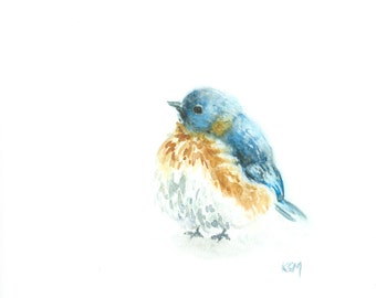 Winter Blue Bird *Limited Edition* Giclee Print of Original Watercolor Bird Painting