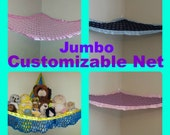 Customized Jumbo Toy Net, You pick the colors (Black, pink, yellow, navy, blue, light, dark, red, brown, strong, grommet, eyelet, large)