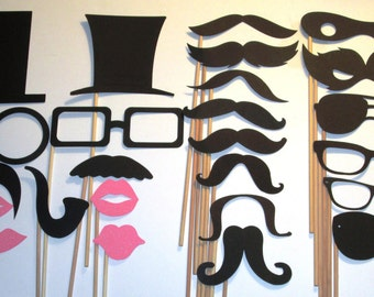 Mustache Wedding Birthday Photo Booth Props sticks attached.
