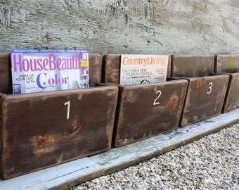 free ship set of 4 office file magazine rack wall hanging hand painted storage distressed wood box nice wall hanging office organizer 4