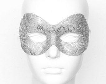 Silver Lace Masquerade Mask -  Lace Covered Venetian Style Prom Mask