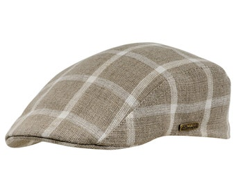 Pure linen chequered summer flat cap - beige / white