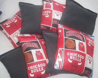 8 ACA Regulation Cornhole Bags - 4 handmade from Chicago Bulls Fabric & 4 Solid Black Bags