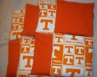 8 ACA Regulation Cornhole Bags - 4 handmade from Tennessee Volunteers Block Fabric with 4 Solid Orange Bags