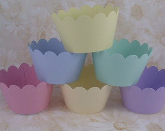 Pretty pastel shades cupcake wrappers x 50