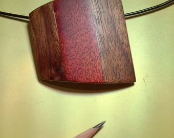 Walnut and bloodwood pendant