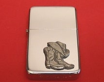 Cowboy Boots & Hat Chrome Petrol Lighter With Pewter Motif Father Rodeo, Line Dancing Country And Western Gift