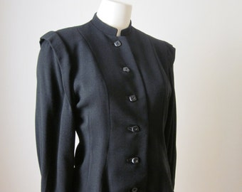 1940s Black Wool Crepe Long-Sleeved Tailored Jacket, Size 6 - 8