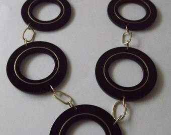 Catwalk Couture Designer Inspired Big Bold Black Medallion and Gold Chain Statement Necklace