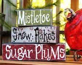 Mistletoe, snow flakes and sugar plums blocks