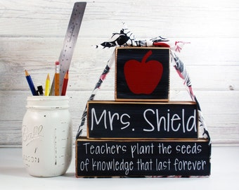 3- Block Stack Teachers Plant The Seeds Custom Name-Painted Wooden Blocks-Country Decor-Shabby