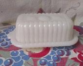 vintage milk glass butter dish