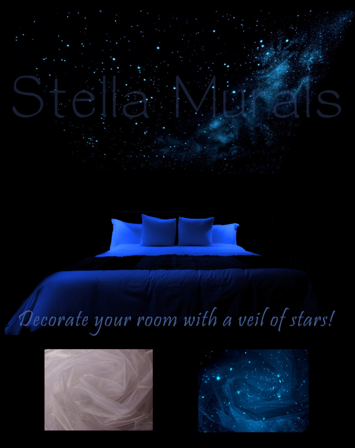 Glow In The Dark Star Ceiling Canopy Orion White With