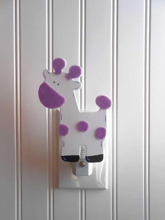 Giraffe Night Light Purple Nursery Decor Night Lights
