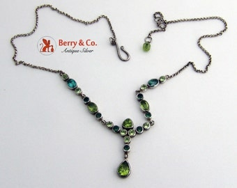 Vintage Green Tourmaline and Peridot Necklace Sterling Silver