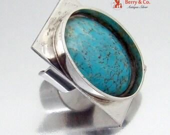 Modern Danish Ring Art Glass Cabochon Silver Tone Metal