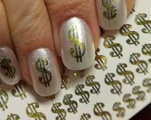 Free Shipping - 38 Gold DOLLAR Signs Nail Art (DSG) Poker CASINO Money Bling Nails - Waterslide Decals not Stickers