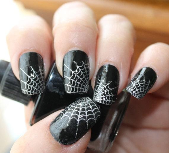 Silver SPIDER WEB Nail Art Tips WTS 29 Web Tip Nail Art