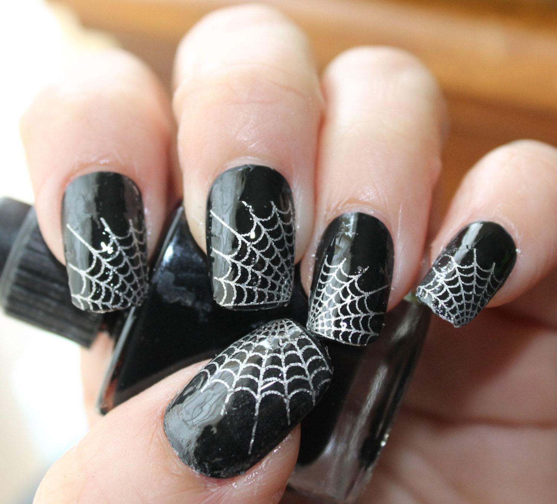 Silver Nail Art Designs: Silver SPIDER WEB Nail Art Tips WTS 29 Web Tip Nail Art