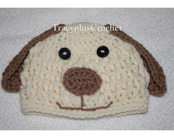 Crochet Puppy Beanie with floppy ears. Puppy Photo Prop Beanie. Puppy hat. Handmade to Order.