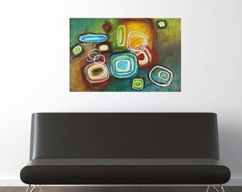 colorful geometric abstract painting original modern art circles squares acrylic canvas Leah Fitts