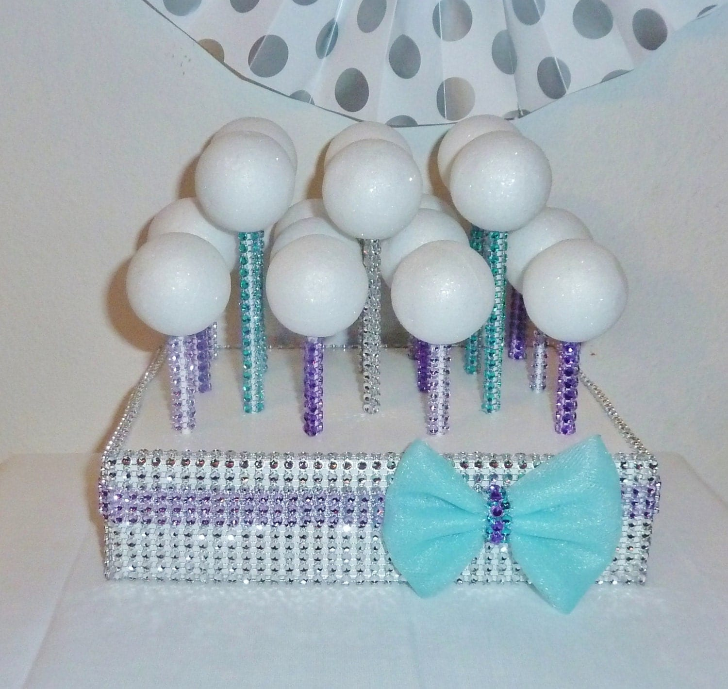 teal aqua lavender purple bling cake pop stand stick display