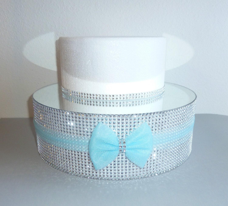 round silver bling mirror wedding cake stand baby blue aqua