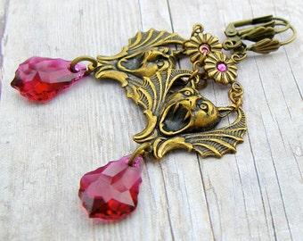 Gargoyle - vintage style antique brass earrings, Victorian style steampunk chandelier bat earrings