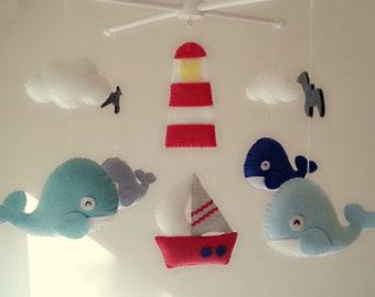 "Baby crib mobile, Felt mobeil, Baby crib mobile, Whale mobile, Boat mobile, nursery mobile - ""Ocean Freedom 2"""