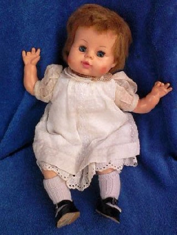 Vintage early1960's Horsman 2515 10 eye S14 sleepy blue eyes doll with original clothes, pearls, and socks/shoes REDUCED