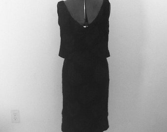 Vintage 60s Rayon Wiggle Dress Sm Madmen