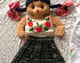 Vintage Handmade Mexican Cloth Doll Cute Kitschy