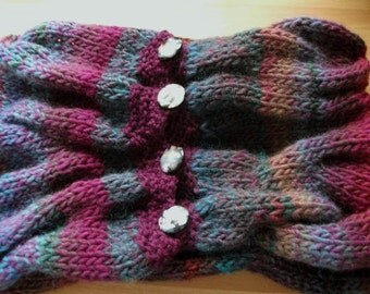 RESERVED - Warm Knitted Chunky Cable Cowl Scarf Neckwarmer with Buttons