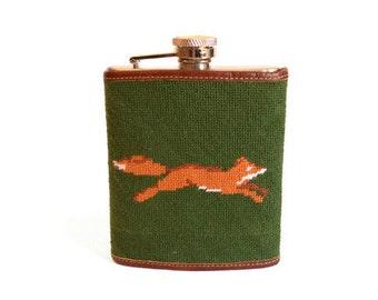 Fox Needlepoint Flask